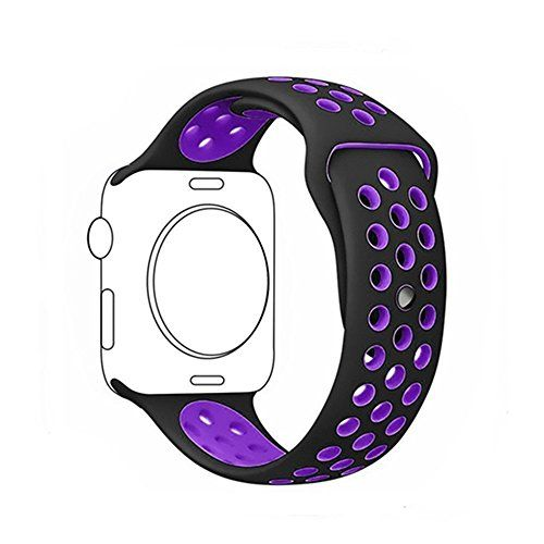 Apple Watch Band Voken Series 1Series 2Series 3Soft Silicone Replacement Sport Wristband Wrist Strap for iWatch Sport Band M/L (42mm Black/Purple)