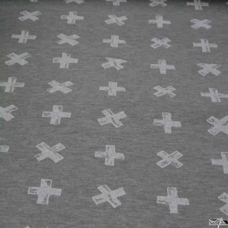 joggingstof grijs met ecru kruis 150 breed 40%pl 60%co geschikt voor kleding