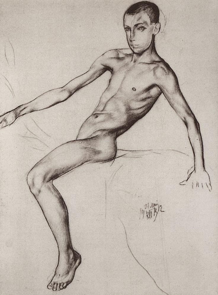K.S. Petrov-Vodkin. Primary drawing for the Red Horse Bathing. 1912