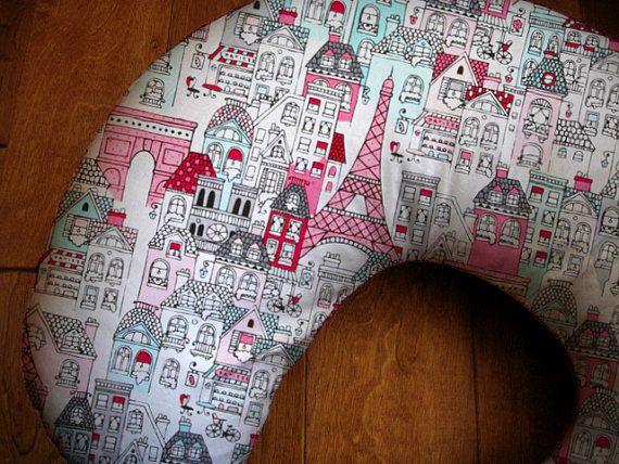 French Village Boppy Cover, Paris Baby Girl Boppy