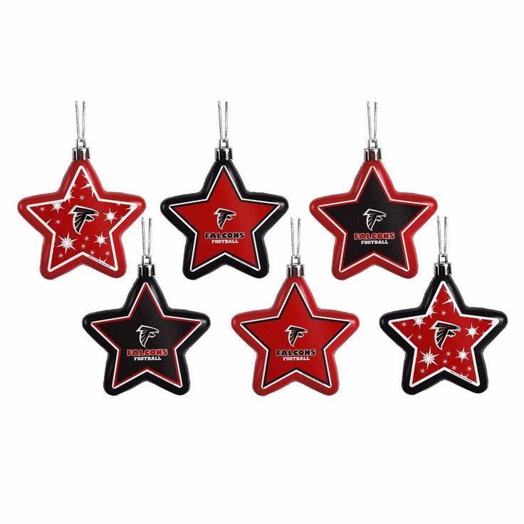 Atlanta Falcons Shatterproof Stars Holiday Christmas Tree Ornaments 6 pack #ForeverCollectibles #AtlantaFalcons