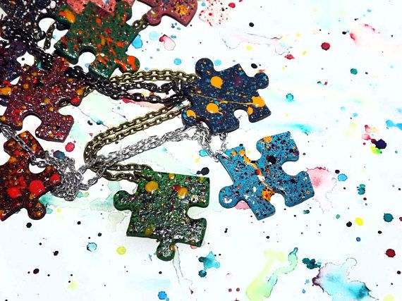 Autism awareness necklace  Puzzle piece necklace  Eco