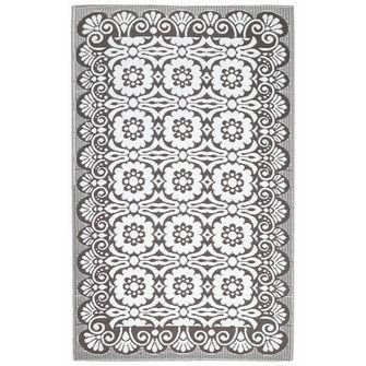 Buitenkleed bloem antraciet/wit 150x240 cm | (Gras)tapijt | Tuin- & balkonaccessoires | Tuin | KARWEI