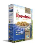 Erewhon Crispy Brown Rice Cereal.  Ingredients: Organic brown rice, Organic brown rice syrup, Sea salt. Found @ Earthfare