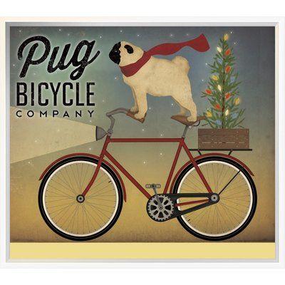 East Urban Home Pug On A Bike Christmas Vintage Advertisement Format Gallery Wrap Canvas Vintage Advertisement Pugs
