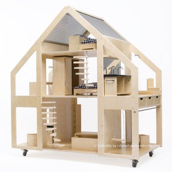 Nederlandse ontwerp DollsVilla door Liliane® Duurzaam ontwerp, huis op wielen voor poppen van 30 centimeter