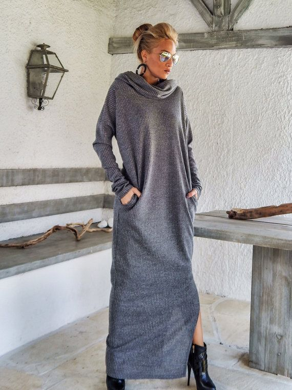 gray winter wool turtleneck maxi dress kaftan with pockets