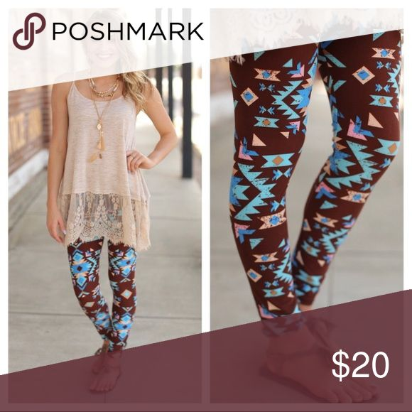 Aztec Print Leggings Buttery Soft Aztec Print Leggings. Pair with a tunic, sandals in summer and boots in the winter. Pants Leggings
