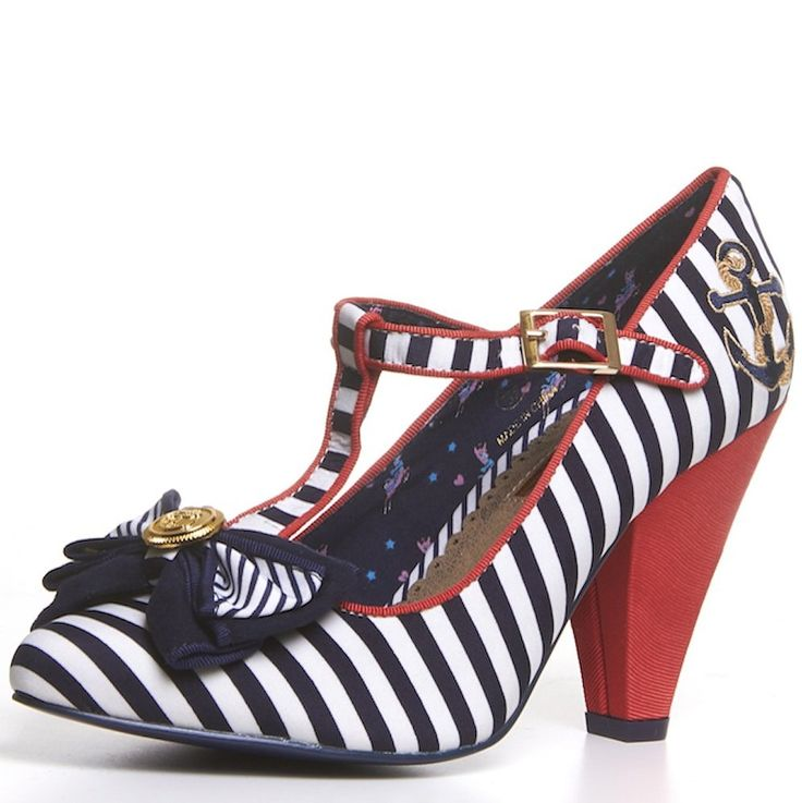 BABYCHAM Kimberly - Womens Navy Blue White Striped Nautical Pointed Toe T-Bar Strap Mid High Heel court shoes Ladies: Amazon.co.uk: Shoes & Bags