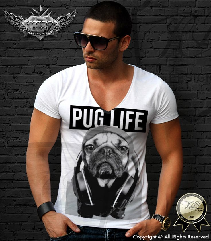 Men's White t-shirt tank top PUG LIFE Music Addicted dog headphones fashion trendy hip hop party festival long sleeve MD650 by RBdesignstore on Etsy https://www.etsy.com/listing/252310171/mens-white-t-shirt-tank-top-pug-life
