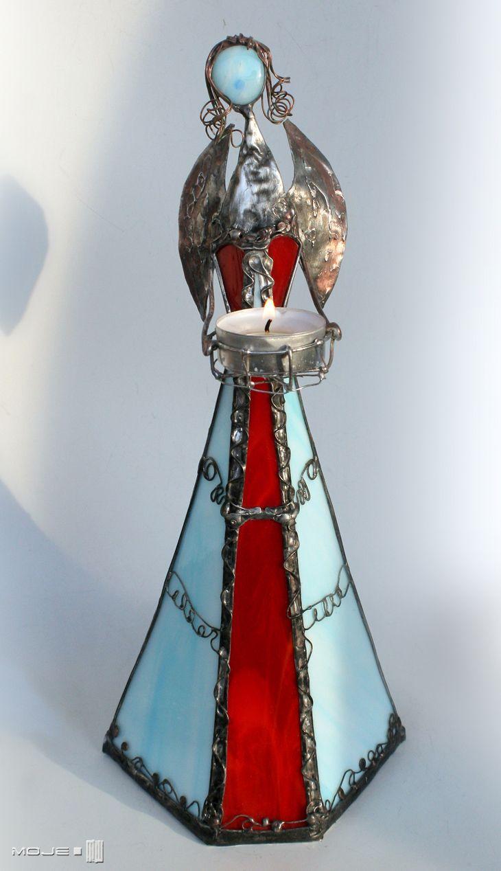 Secabmi. Szklany Anioł / Glass Angel. Witraż Tiffany. Dekor stojący. Moje MW