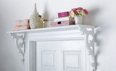 Love this shelf over the door look