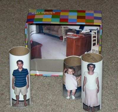 toilet paper roll doll house: Crafts For Kids, Toilet Paper Rolls, Toilet Paper Towel, Toilets, Toilet Paper Tubes, Workbox Ideas, Kid Stuff, Cardboard Tubes