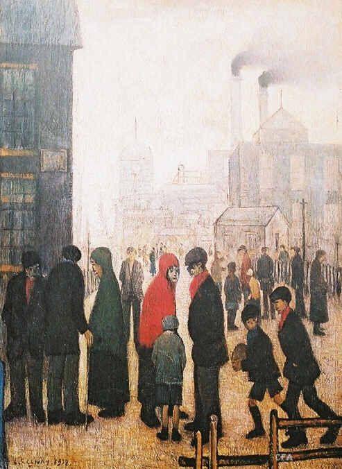 Salford Street Scene, Manchester, United Kingdom, 1928, by LS Lowry.