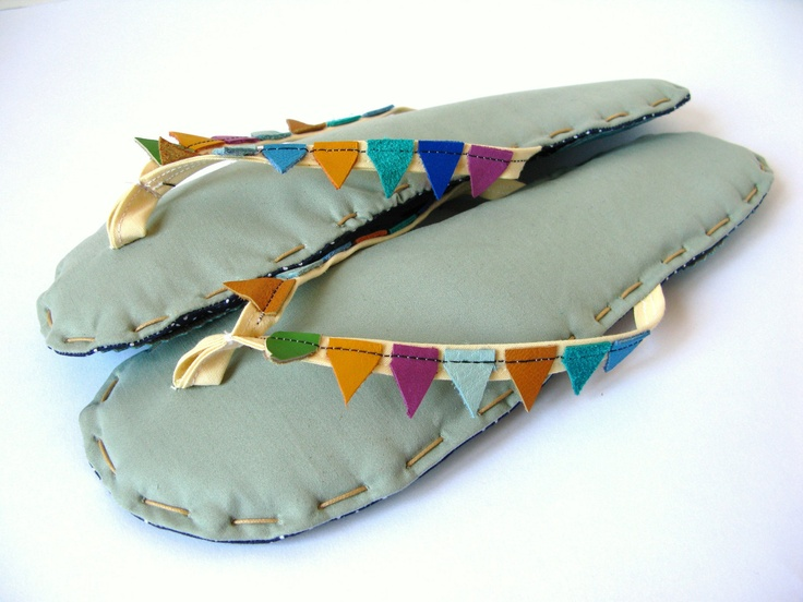 Bunting Banner Flags Fabric Flip Flop Sandals, Home Slippers Sage Greeen Cotton with Cream Straps and Recycled Leather Flags Colors. $50.00, via Etsy.
