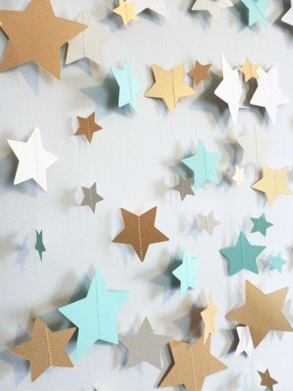Menthe guirlande en papier étoiles or et par SassyPantsNebraska