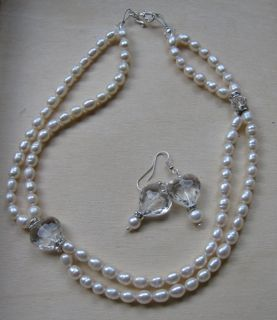Pearl and crystal necklace and earrings made for a fundraiser.