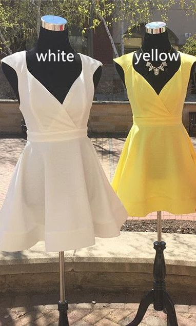 white homecoming dress, yellow homecoming dress, short homecoming dress, 2017 homecoming dress, party dress