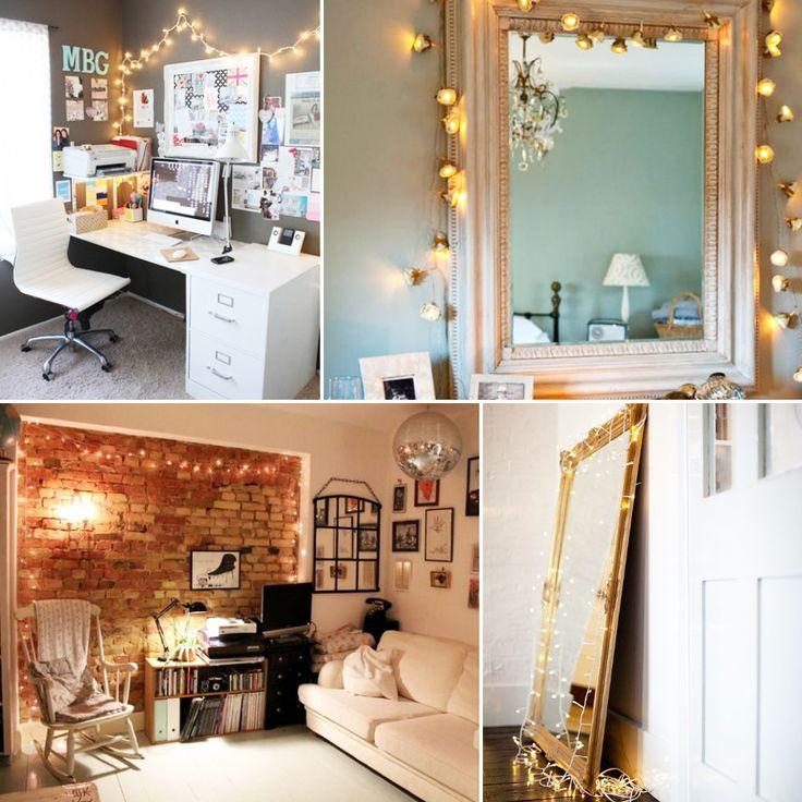 Украшение интерьера гирляндами: декорирование зеркал и стен
