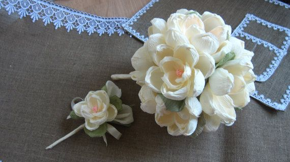 Wedding bouquet MAGNOLIA Bruidsboeket buttonhole by moniaflowers