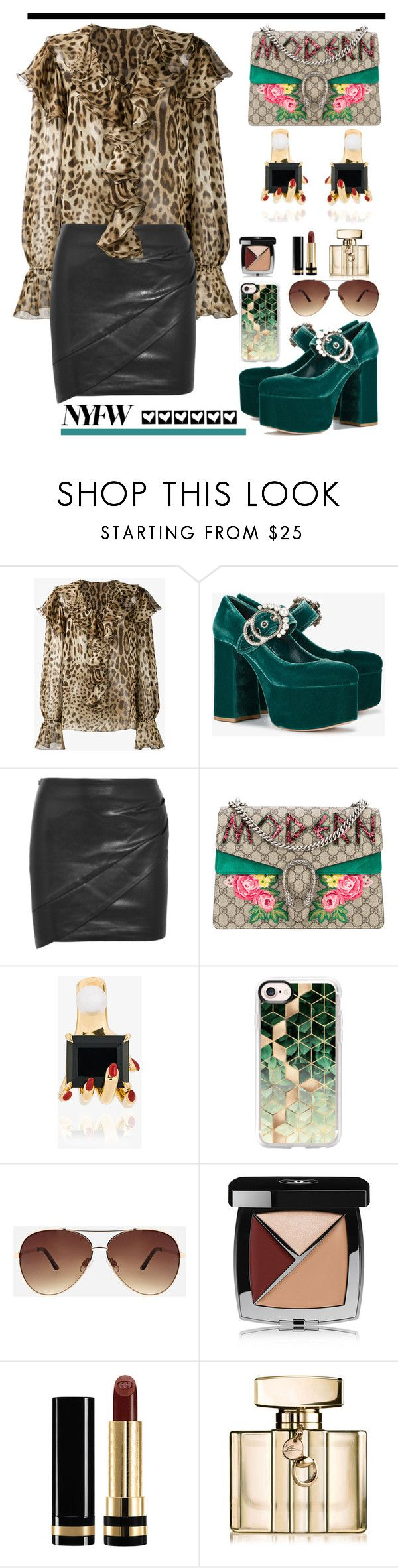 """What to Wear to NYFW"" by hamaly ❤ liked on Polyvore featuring Dolce&Gabbana, Miu Miu, IRO, Gucci, Anissa Kermiche, Casetify, Ashley Stewart, Chanel, NYFW and outfit"