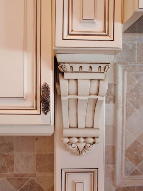 Kitchen Glazed Antiqued Off White Cabinets. Not distressed, antiquing glaze use. DIY by Design: