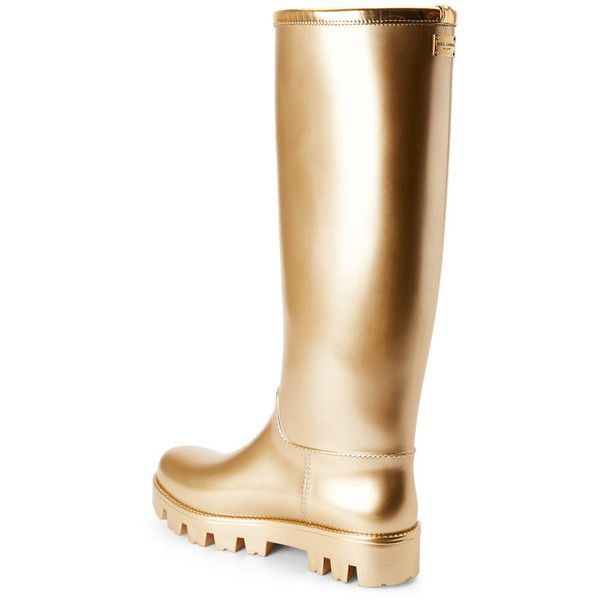 Gold Metallic Tall Rain Boots - Century 21 ❤ liked on Polyvore featuring shoes, boots, wellies boots, wellington boots, tall rain boots, tall rubber boots and rubber boots