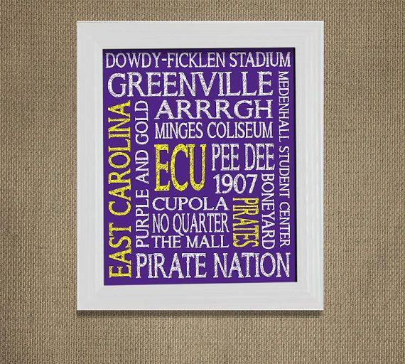 ECU Pirates E.C.U. East Carolina University by MuchTooGraphic