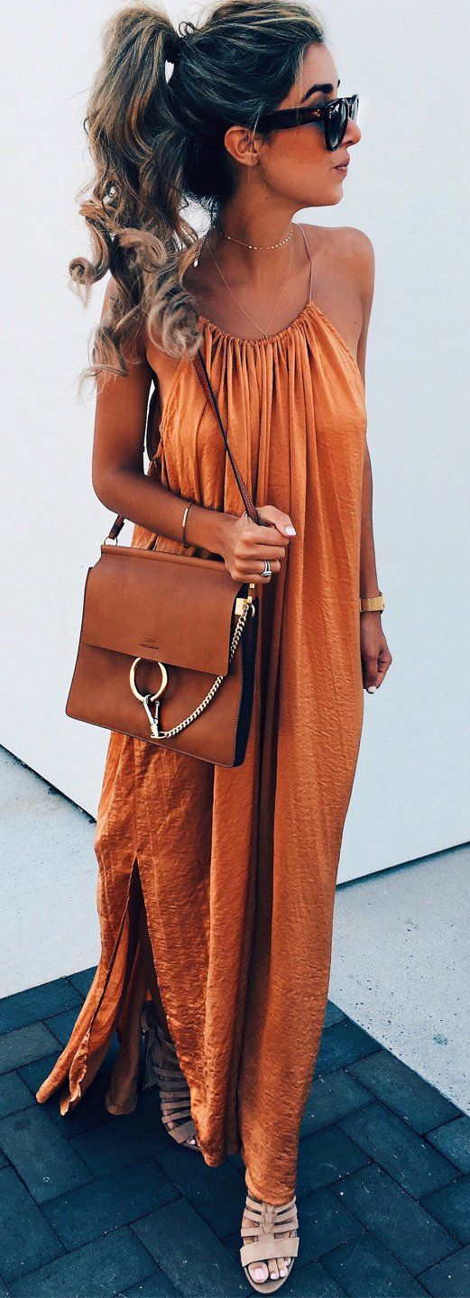 #summer #outfits Orange Maxi Dress + Brown Leather Shoulder Bag ❤️
