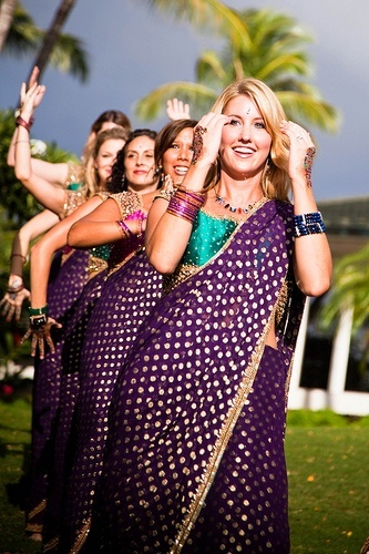 Such unique bridesmaid saris - polka dots and silk shantung turquoise blouse.