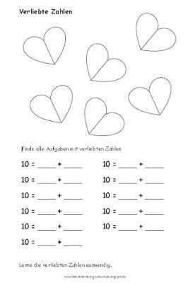 Ein einfaches Arbeitsblatt zu den verliebten Zahlen bzw. der Zahlzerlegung der Zehn.        Link zum Download