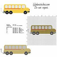 Yellow toy school bus free and small cross stitch pattern 80 x 26 stitches 7 DMC threads