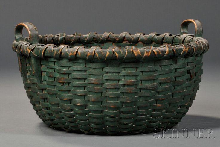 Green-painted Woven Splint Basket, America, 19th century
