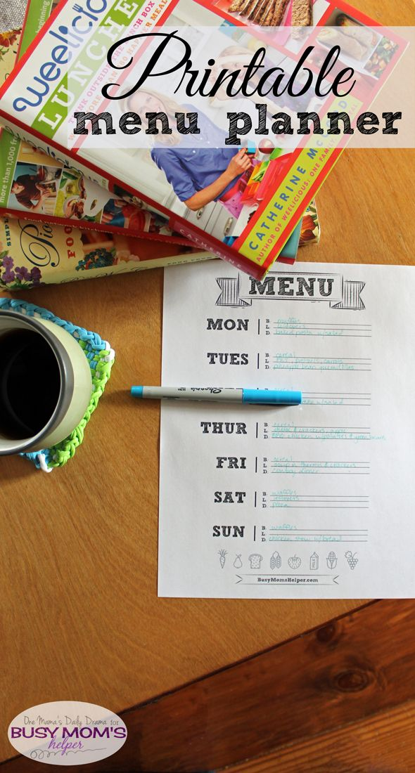 Printable Menu Planner | One Mama's Daily Drama for Busy Mom's Helper --- This cute chalkboard style menu planner is simple but effective. Love the little food icons!