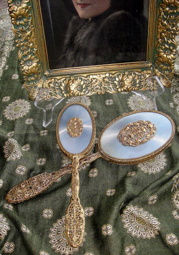 Stunning Vintage Mirror And Brush Set By Apollo Studios Beautiful Scrolling Filigree Rare Vanity