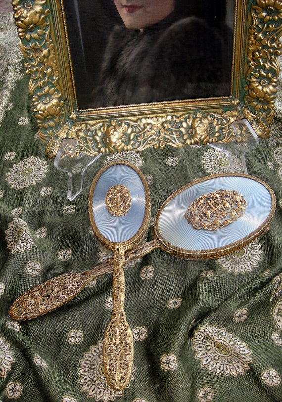 Details About French Antique Gilt Bronze Ormolu Hand Mirror Brush Comb Dresser Set Antiques And Dressers