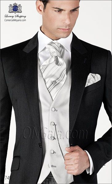 Gray pure wool extra satin Wedding suit jacket with morning stripe trousers.