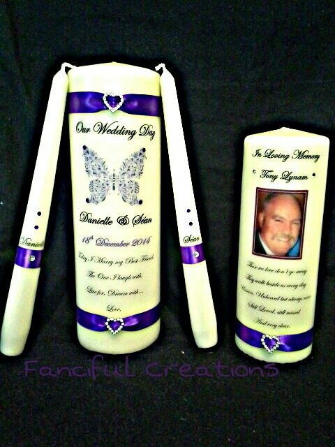 Wedding Unity Candle Set with matching Remembrance Candle  https://m.facebook.com/personalised.candles.for.all.occasions