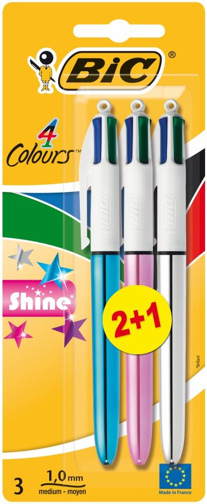 Buy BiC 4 Colours Shine Ball pens, Medium Nib, Assorted Ink (Pack of 3) From WHSmith today, part of Buy 1 Get 1 Half Price Essential Pens