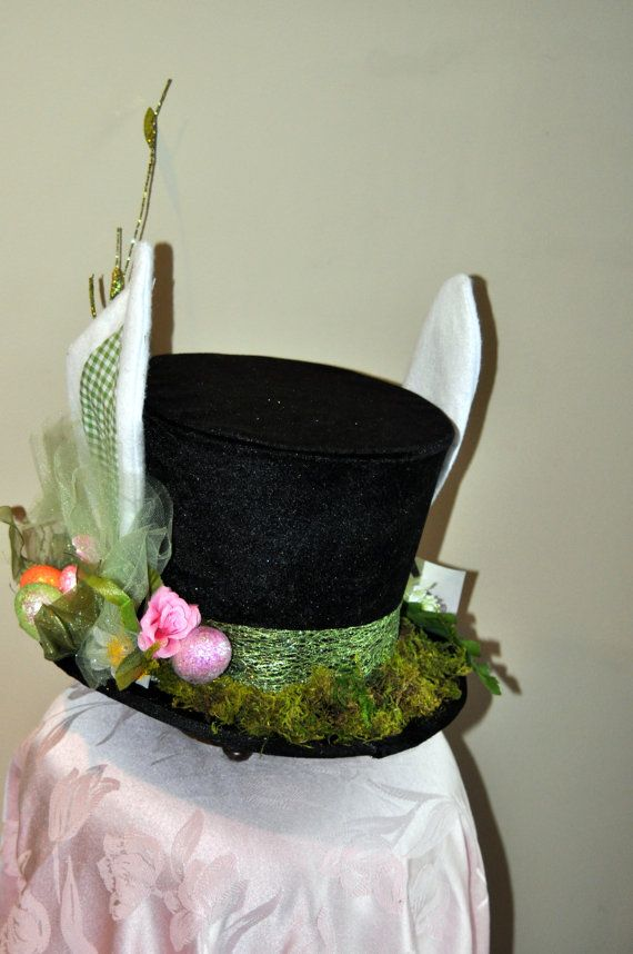 Mad Hatter Velvet Top Hat enhanced with Bunny Ears by HatTricksEtc