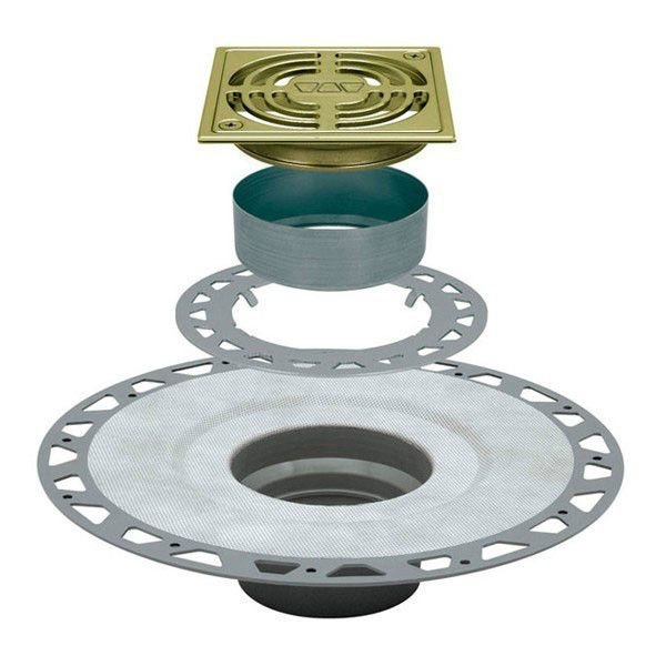 Schluter Kerdi Drain Kit 4 Square Brushed Brass Anodized Aluminum Grate Pvc Flange With 2 Drain Outlet