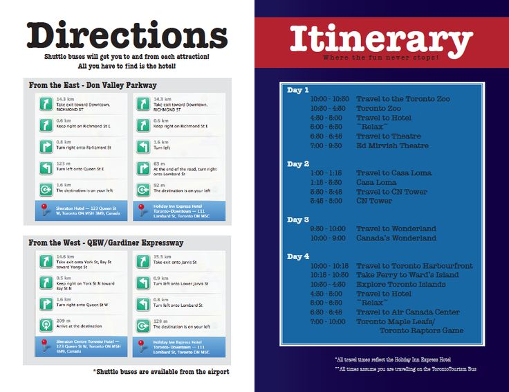 """Geography of Tourism"" class assignment. Inside of travel brochure: directions and itinerary."