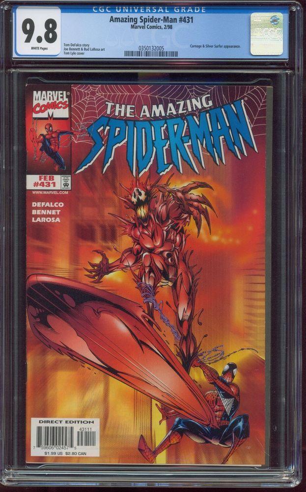 Amazing Spider Man 431 Cgc 9 8 Near Mint Mint White Marvel Comics Carnage 18582 Provided More Than 100 000 Comic Artworks Marvel Books Thor Comic Art Spiderman