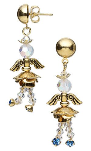Earrings with SWAROVSKI ELEMENTS, Antiqued Gold-Finished Pewter Beads and Gold-Finished Brass Beads - Fire Mountain Gems and Beads