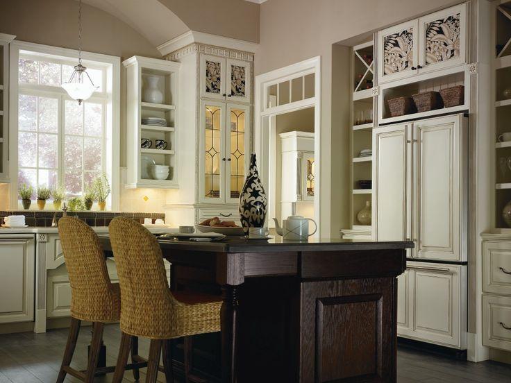 Plaza Maple Amaretto Crème Glaze With Plaza Oak Chocolate, Featuring Custom  Insert Panels Kitchen Cabinets