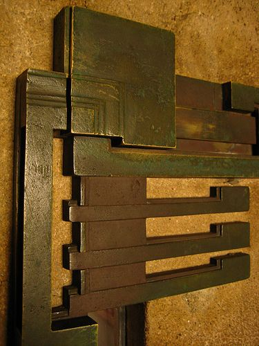 Hollyhock House - Frank Lloyd Wright - a clever lock, camouflaging the keyhole