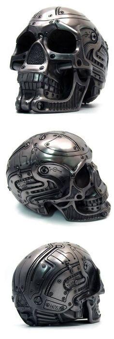 mechanical skull helmet: