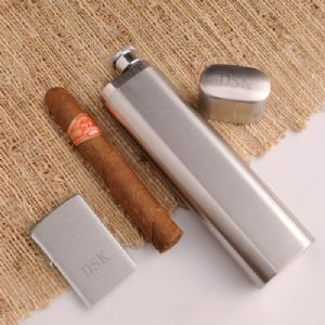 Personalized Cigar Case Flask and Engraved Zippo Lighter Combo Set, durable and attractive, this Personalized Cigar Case Flask and Zippo Lighter set is a wise choice for a variety of occasions, from birthday or retirement to a thank you present for your groomsmen.  The unique flask offers space for one cigar and a generous helping of their favorite drink. Also includes an attractive Zippo lighter. Add initials on the cap for a personal touch.