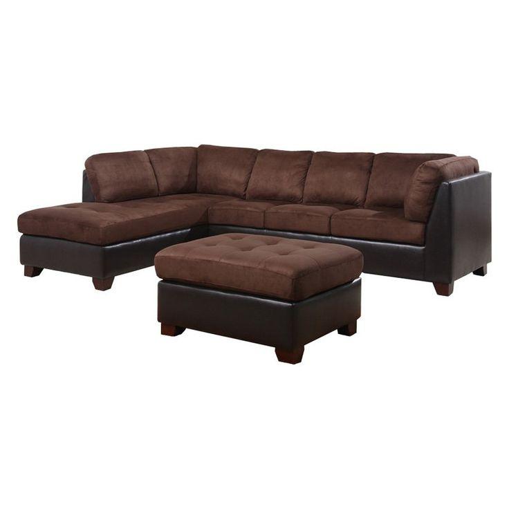 Abbyson Living Channa Sectional Sofa And Ottoman   Dark Truffle $1699