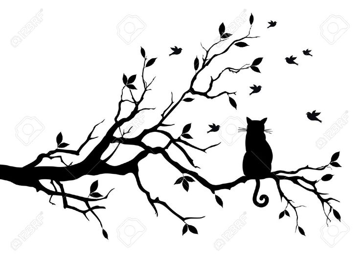 Cat Sitting On A Tree, Watching Birds Royalty Free Cliparts ...